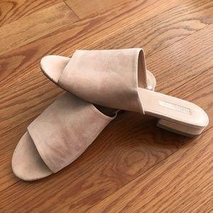 Faux suede mule sandals
